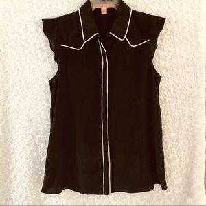 Rebellious One Top Shirt Blouse Women's Black Sz M